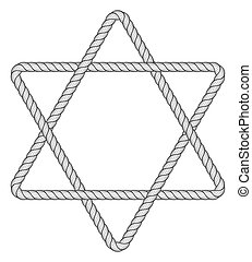 Rope hexagram icon - Illustration of the abstract rope...