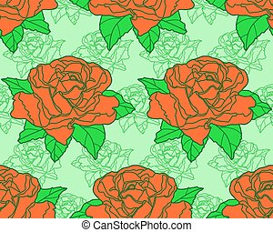 Rose seamless pattern - Seamless pattern of the rose flowers