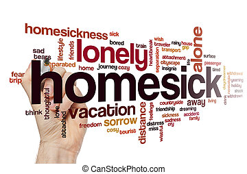 Homesick word cloud concept