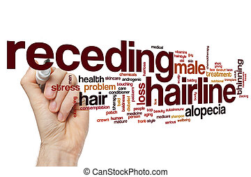 Receding hairline word cloud concept