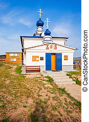 Church on Olkhon island - Church of Our Lady Derzhavnaya in...