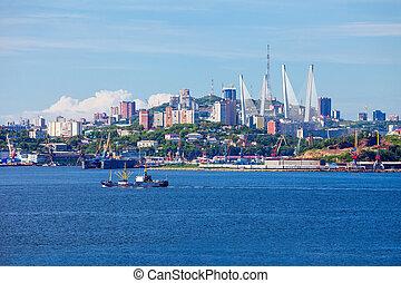 Vladivostok aerial panoramic view - Vladivostok city aerial...