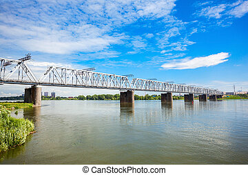 Bridge cross Ob river - The Novosibirsk Rail Bridge is a...