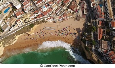 Aerial. Beach Carvoeiro filmed bird's eye view. Portugal.