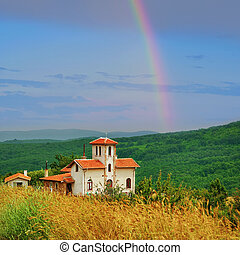 Chapel on the Hillside in the Mountains of Bulgaria