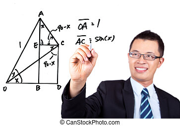 engineer drawing a Trigonometric - young engineer drawing a...