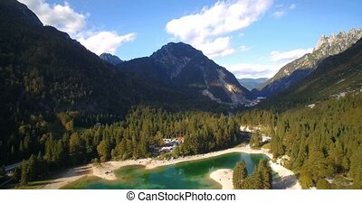 Aerial, Flight Over Amazing Lago Del Predil,...