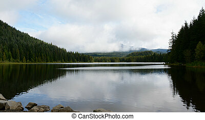 Scenic Trillium Lake Study - Silhouetted placid morning...
