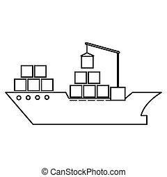 cargo ship silhouette icon
