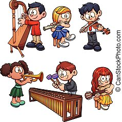 Musician kids - Kids playing musical instruments. Vector...