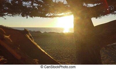 Ocean view and geology, Malibu, CA - Panoramic view of...