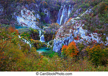 Autum colors and waterfalls of Plitvice National Park in...