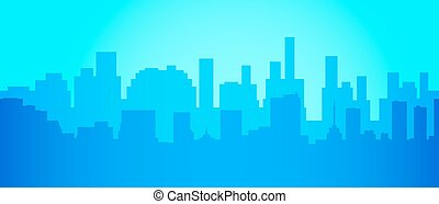 City skyline in minimalist style . Silhouette landscape . Vector illustration