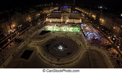 Aerial view of the Ice park in the center of Zagreb - Ice...