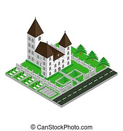 Isometric Church Vector