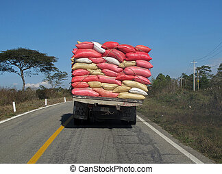 Overloaded truck, Mexico - A heavy overloaded truck in...