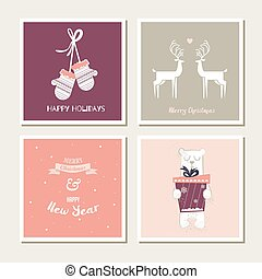 set of vintage greeting cards for christmas