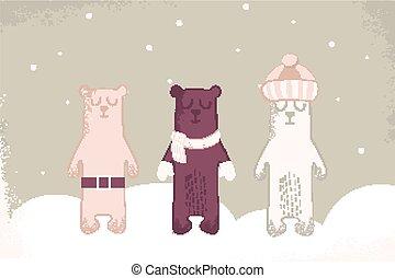 Christmas card of three polar bears with scarf.