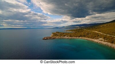 Aerial, Flying Along Croatian Coast-Line - Graded and...