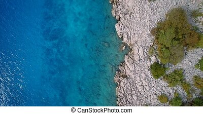 Aerial,Vertical Flight Along Croatian Coast-Line - Graded...