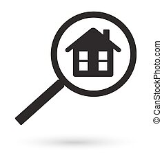 black magnifying glass finding house vector