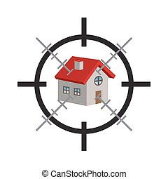 crosshair on a 3d house vector