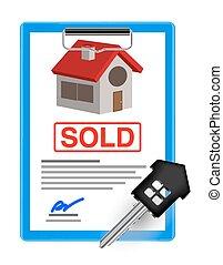 house sale sheet with house key