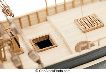 wooden ship model - photographed close-up of a model sailing...