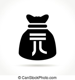 yuan bag icon - Illustration of yuan bag icon on white...