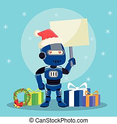 blue robot with sign