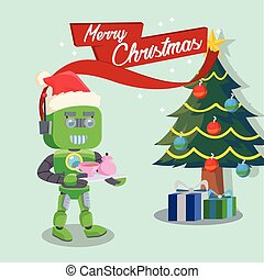 green robot with sign merry christmas