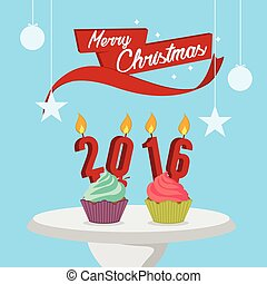cupcakes with candle and merry christmas illustration