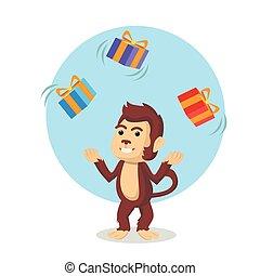 monkey juggling christmas box