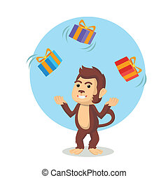 monkey juggling christmas box
