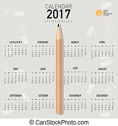 2017 Calendar planner, vector design template. Set of 12...