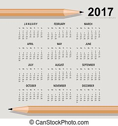 2017 Calendar planner, vector design template. Set of 12...