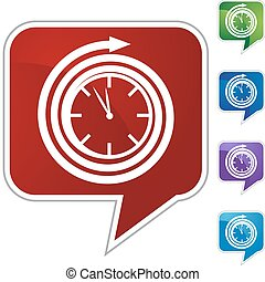 Clock web button isolated on a background.