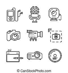 multi media icon set