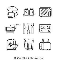 kitchen utensil icon set