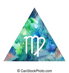 Virgo zodiac sign on watercolor triangle background....