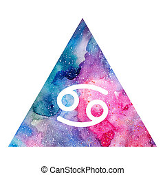 Cancer zodiac sign on watercolor triangle background....