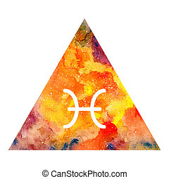 Pisces zodiac sign on watercolor triangle background....