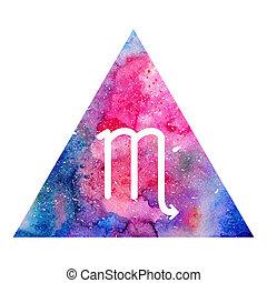 Scorpio zodiac sign on watercolor triangle background....