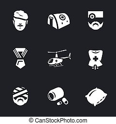 Vector Set of Military Hospital. - soldier, tent, doctor,...