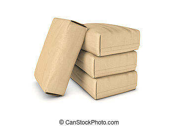 Rendering of four light beige cement sacks isolated on a...