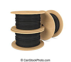 Rendering of black industrial underground cable on large...