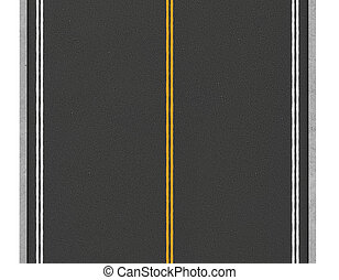 Rendering of lonely two-way asphalt road, isolated on white...
