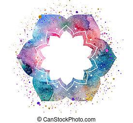 Watercolor oriental flower frame