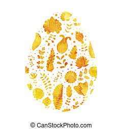 Gold Easter egg in - Gold Easter egg with abstract floral...