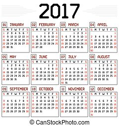Year 2017 Calendar - A monthly calendar for the year 2017 on...